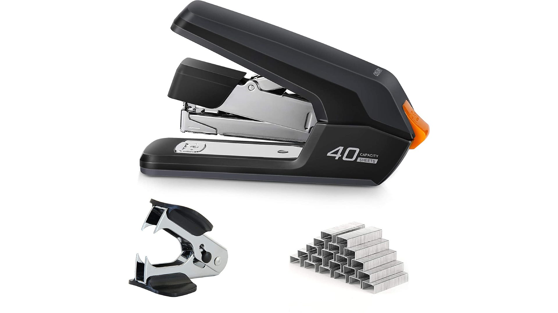 a black thick stapler with staples and a staple remover