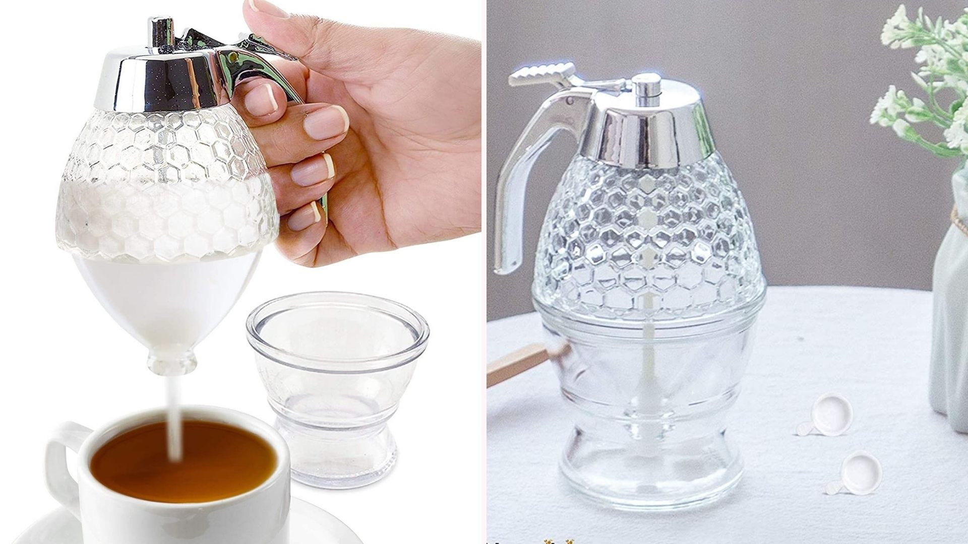 a glas beehive-patterned sugar dispenser pouring sugar into tea