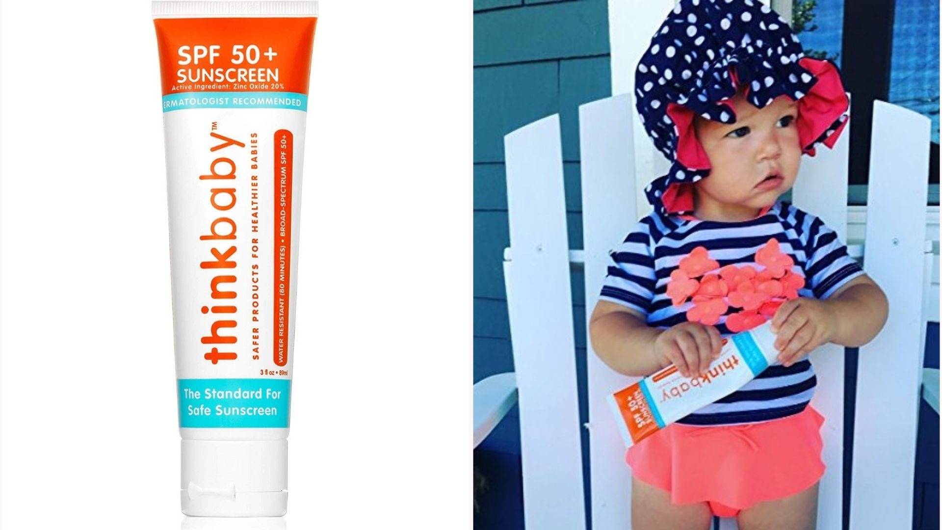a tube of Thinkbaby sunscreen; a baby girl holds a tube of it in a swimsuit