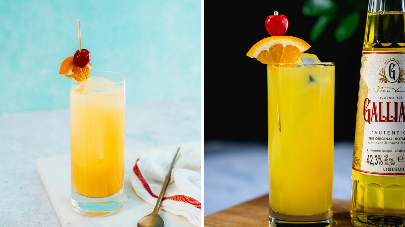 Two images of a screwdriver cocktail made with vodka, and orange juice, garnished with an orange wedge and a cherry.