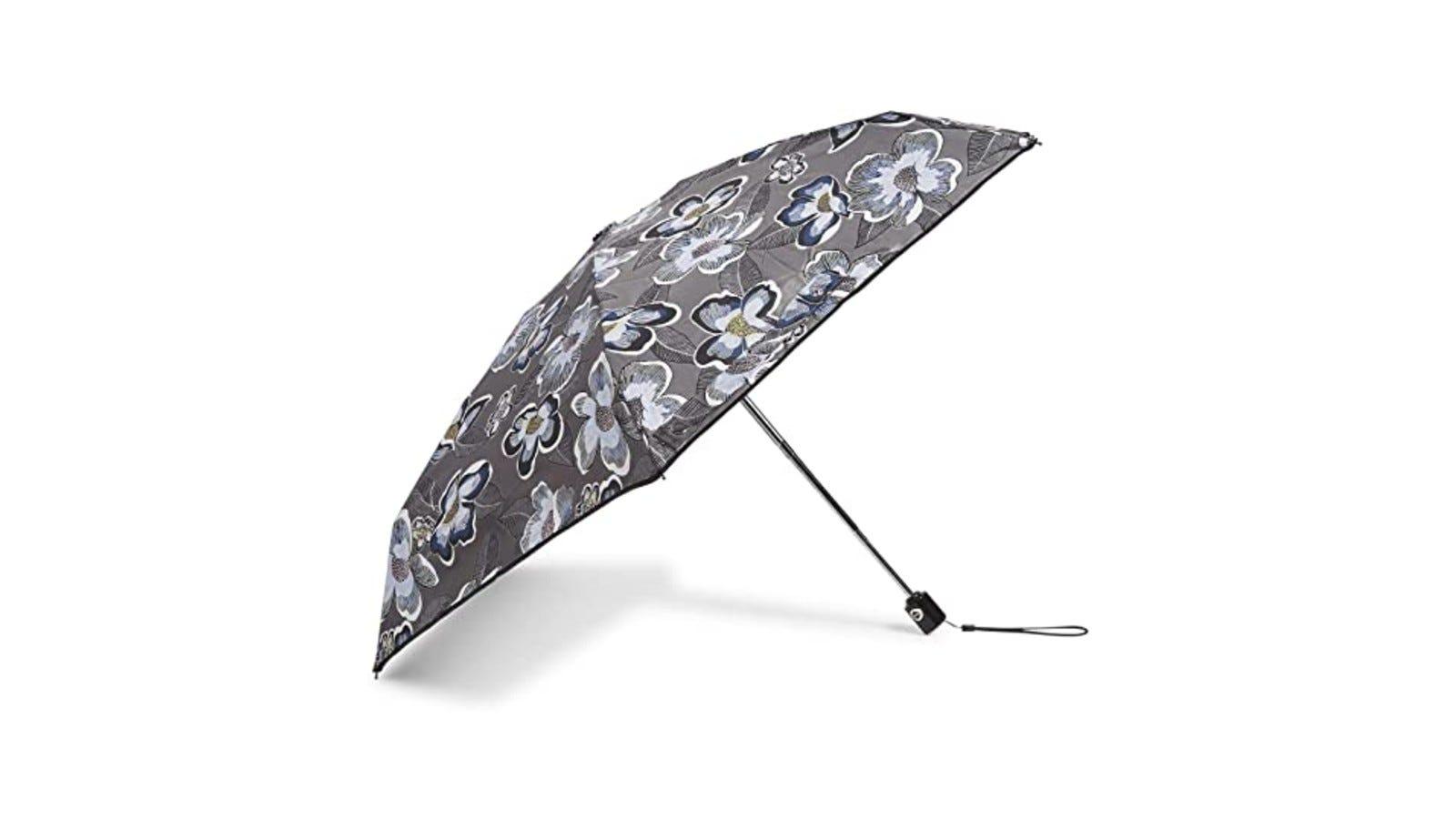 a gray mini umbrella with a floral print