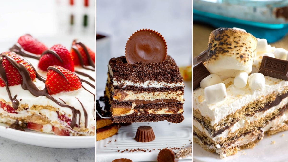 A strawberry icebox cake, a peanut butter icebox cake, and a s'mores icebox cake.