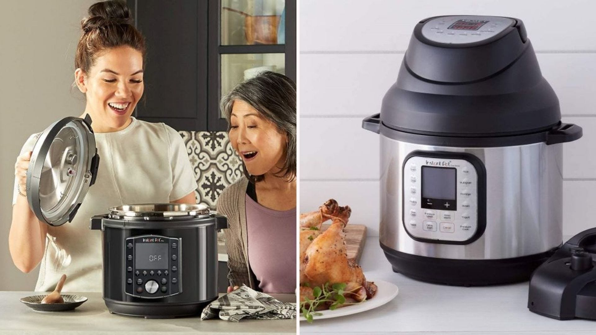 Two women looking in an Instant Pot Pro, and an Instant Pot sitting on a counter with the air fryer lid on.