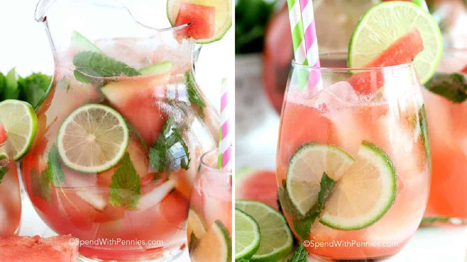 Two images of watermelon mojitos. The left image is of a watermelon mojito in a large glass pitcher, filled with lime, watermelon and several mint leaves. The right image is a glass of the cocktail ready to be sipped.