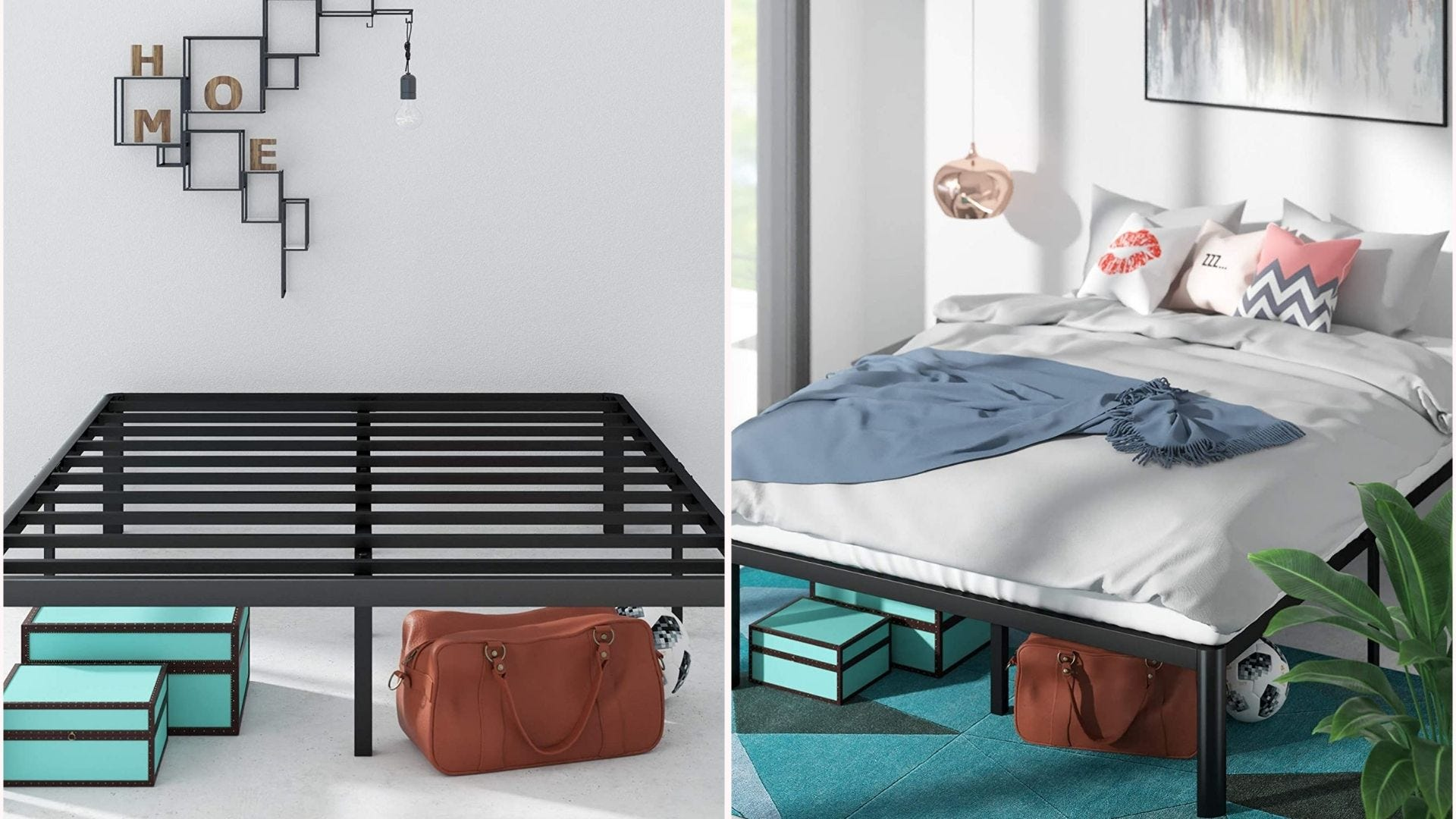 a black metal platform bed frame shown with and without a mattress in a bedroom