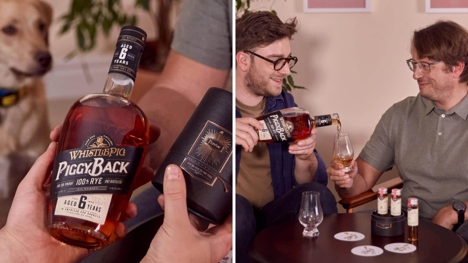 Two images; the left image is a person holding a bottle of WhistlePig Rye, and the right image is a son pouring a glass of whiskey for his father, who is very happy with his Father's day gift.