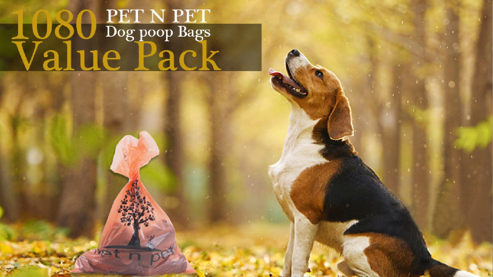 A dog in the woods along side of a full large pet n pep baggie.