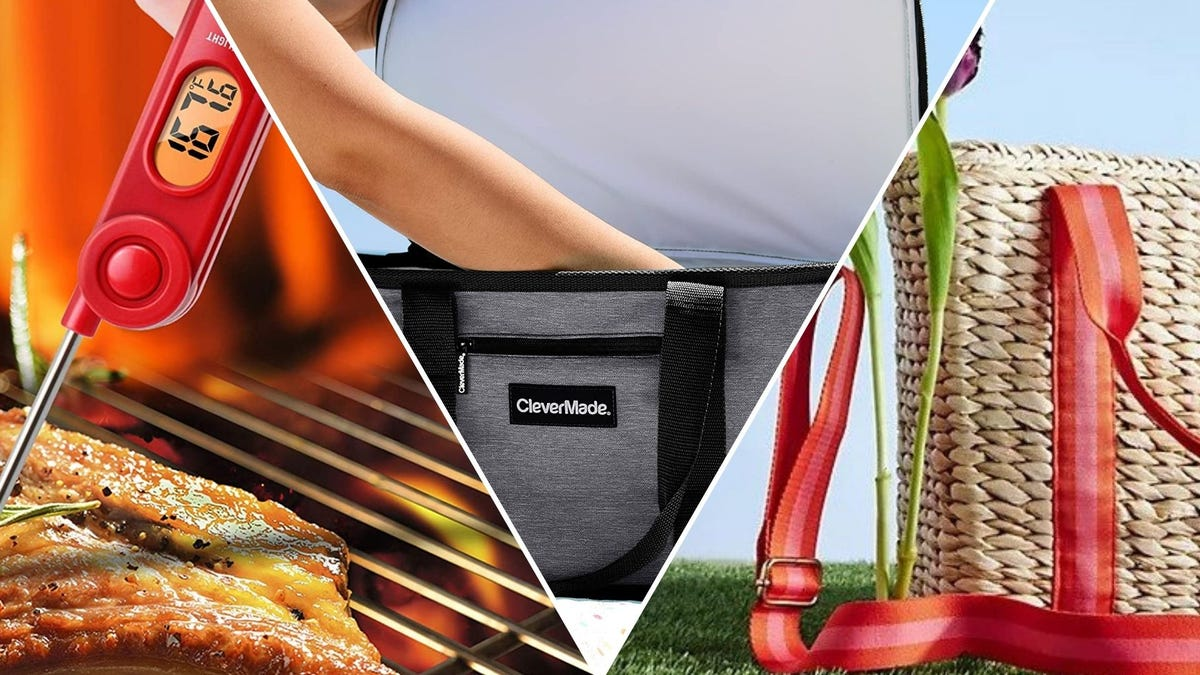 A thermometer in a piece of meat; a gray cooler; a woven picnic basket tote
