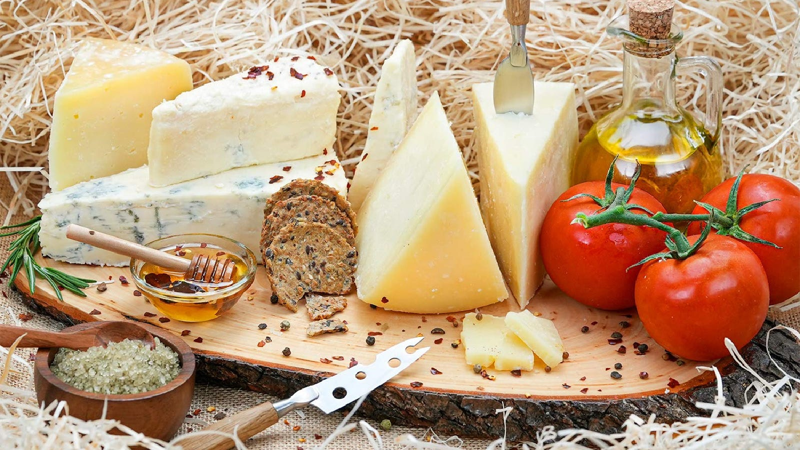 An assortment of imported European cheeses by Marky's.