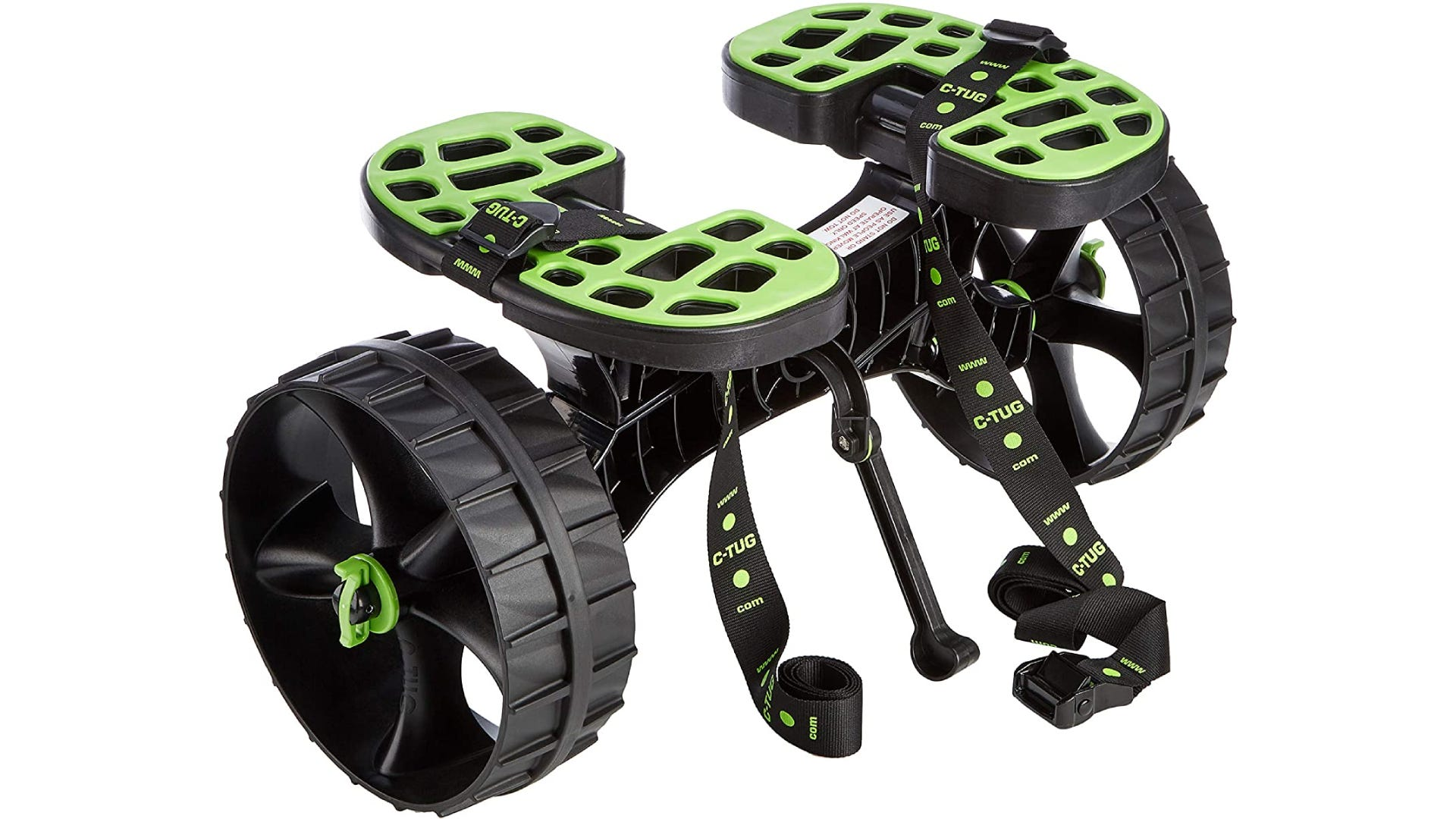 a kayak cart with two wheels and green accent son the platform, wheels, and straps