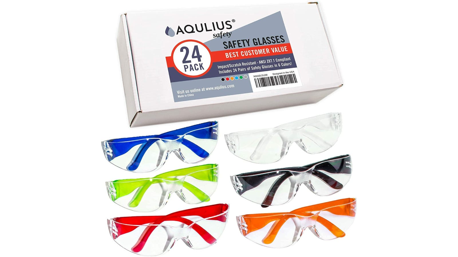 Six pairs of colorful safety glasses (one blue, one green, one red, one white, one black, and one orange) by a box