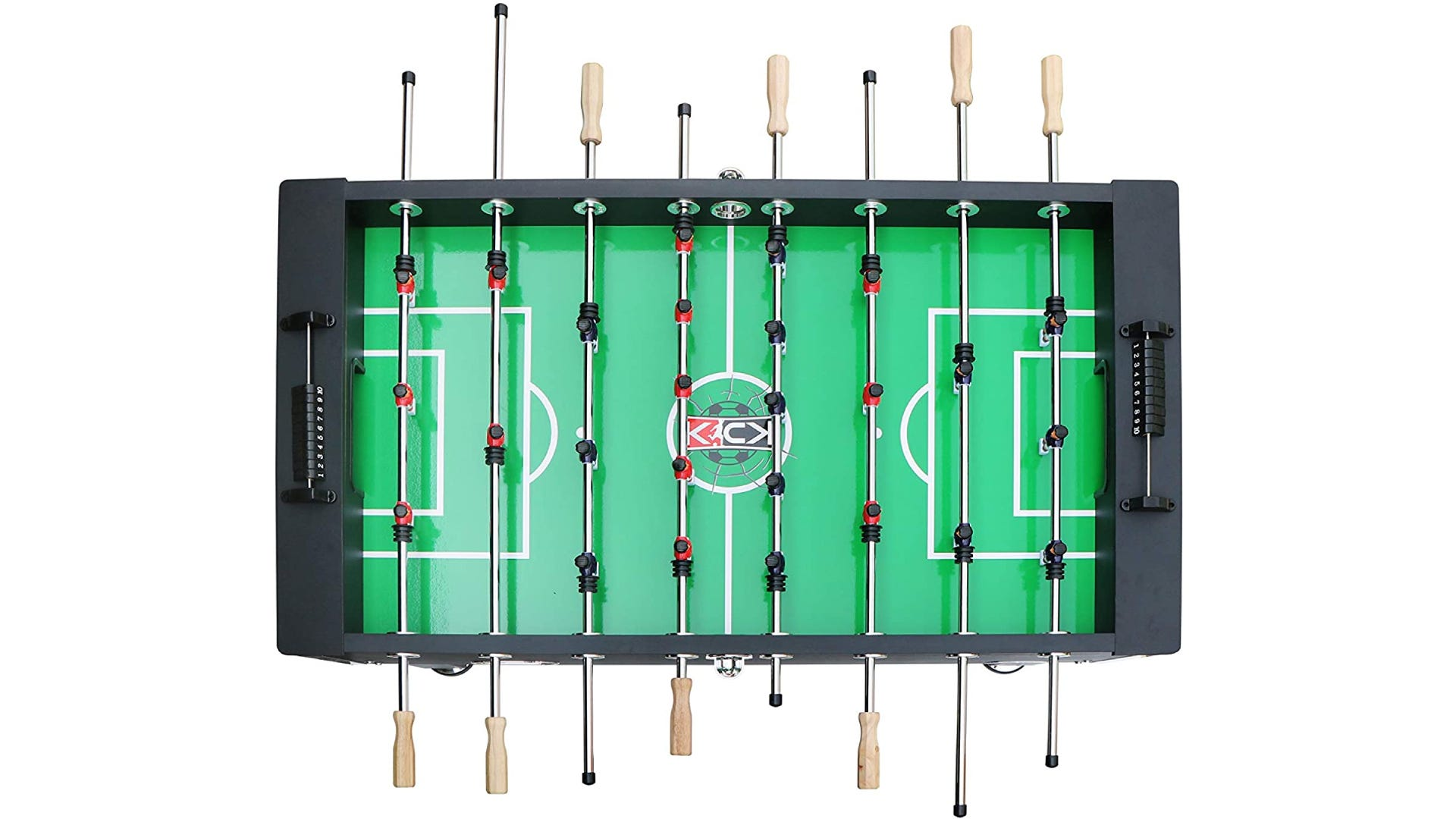 top view of foosball table with red and black teams