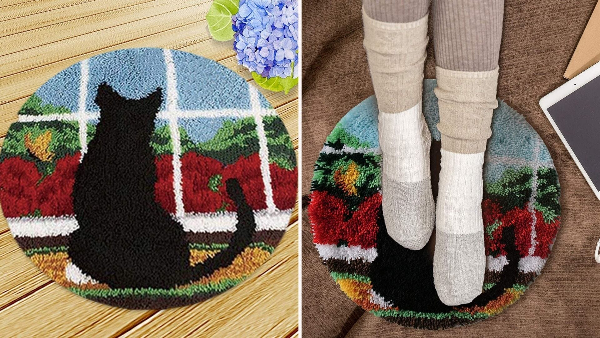 a round yarn rug with a cat design on it; two feet with socks rest on the rug