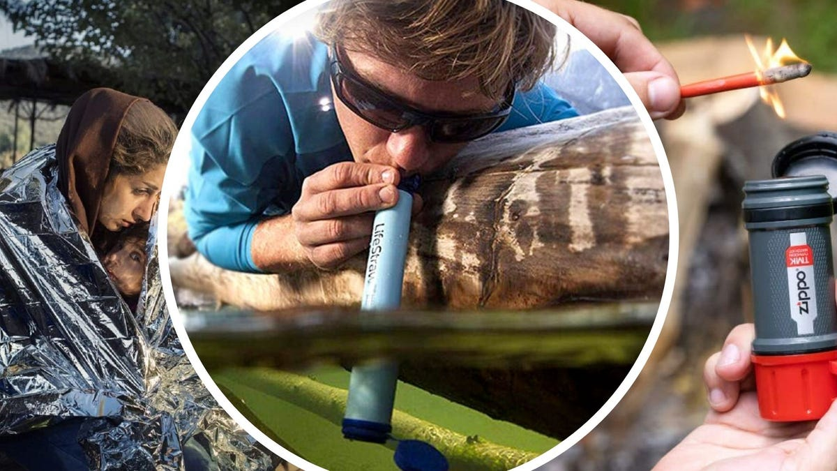 Someone huddles under a thermal blanket, someone drinks out of a river with a blue LifeStraw, and someone lights a waterproof match