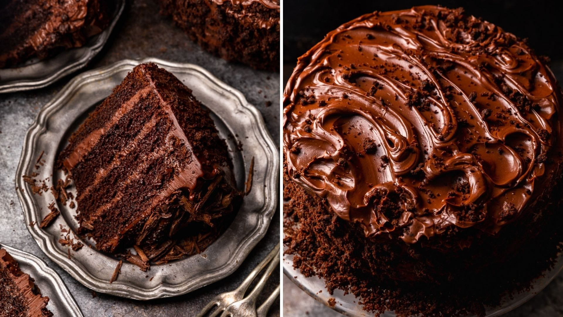 A slice of Devil's food cake and a full chocolate cake
