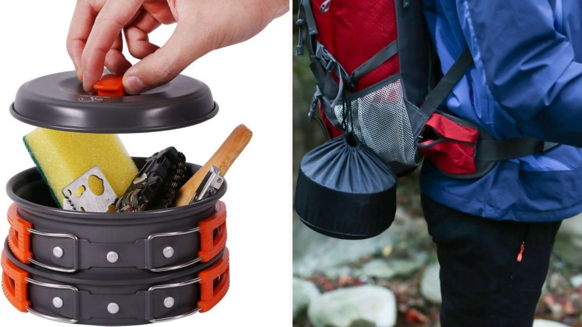 The Cookware Mess Kit assembled in the pot, and hanging on someone's backpack.