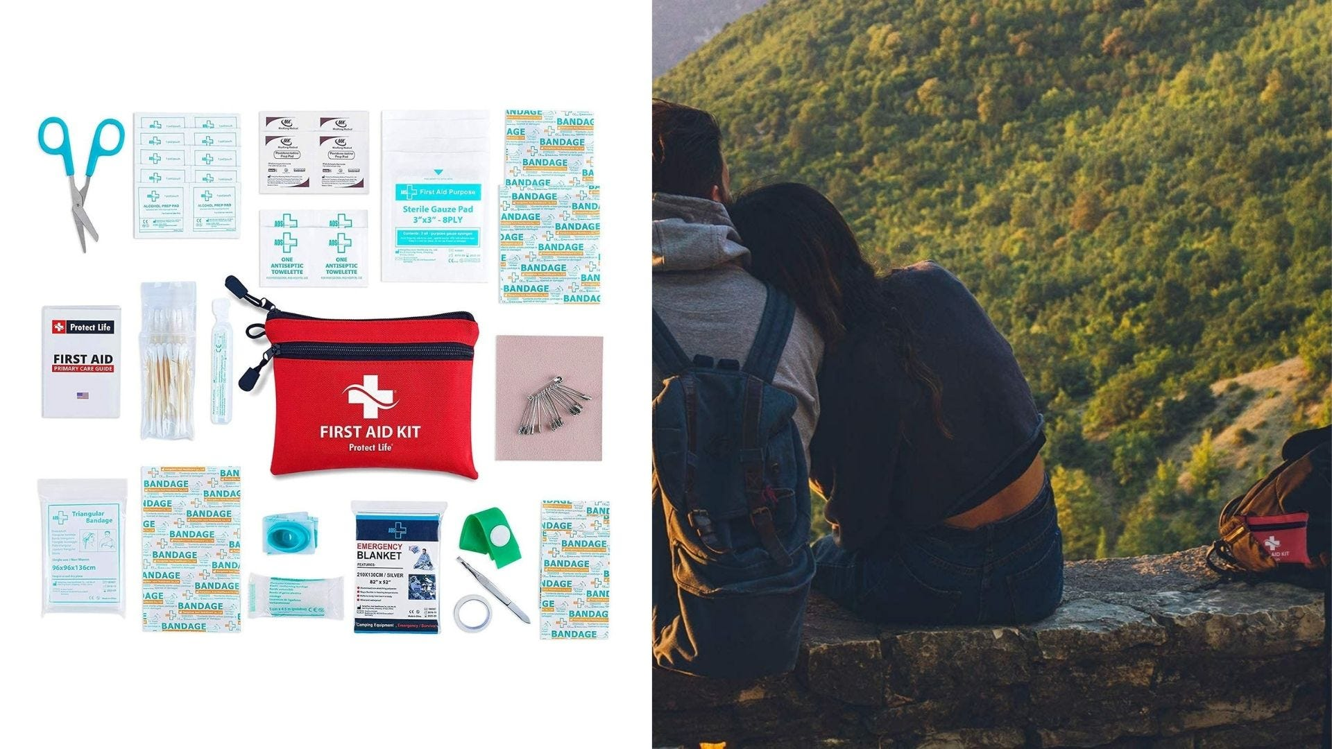 A first aid kit with all the content laid out and two people overlook a scenic overview