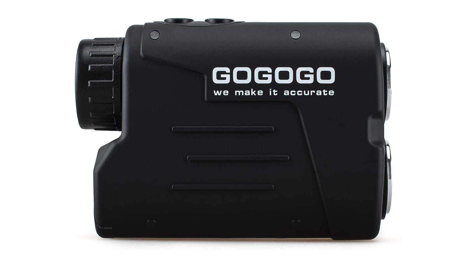 Black rangefinder with 650 yard range and speed mode for determining the speed of moving objects