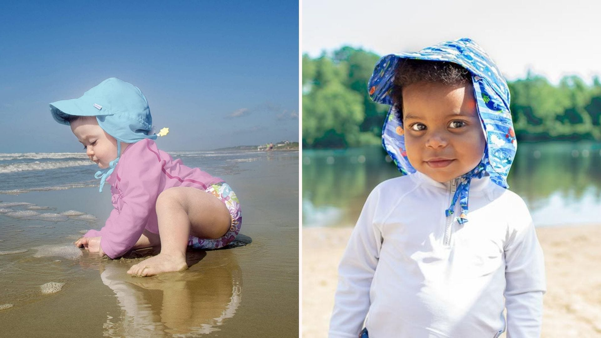 Toddlers wearing sun protection hats at the beach.