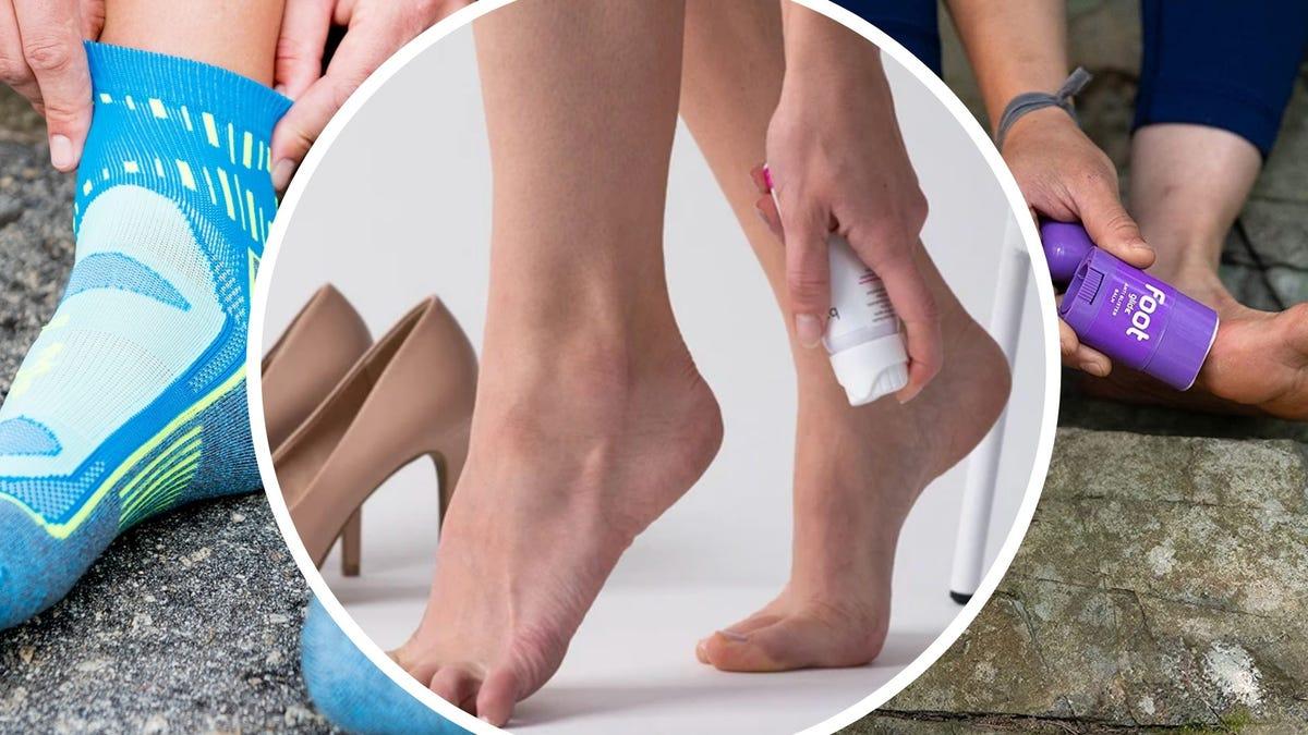 Someone puts on socks, someone sprays something onto their foot, someone rubs a purple stick onto their foot