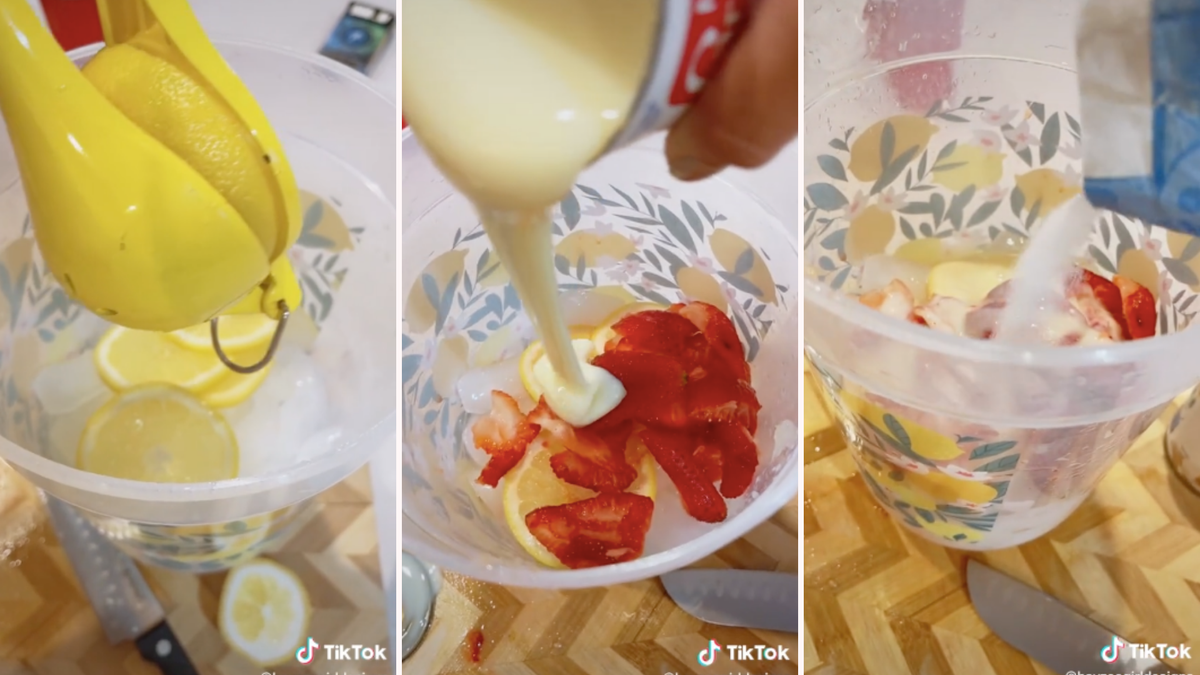 Three images saw someone squeezing lemons to make lemonade and adding condensed milk and sugar for a new creamy version.