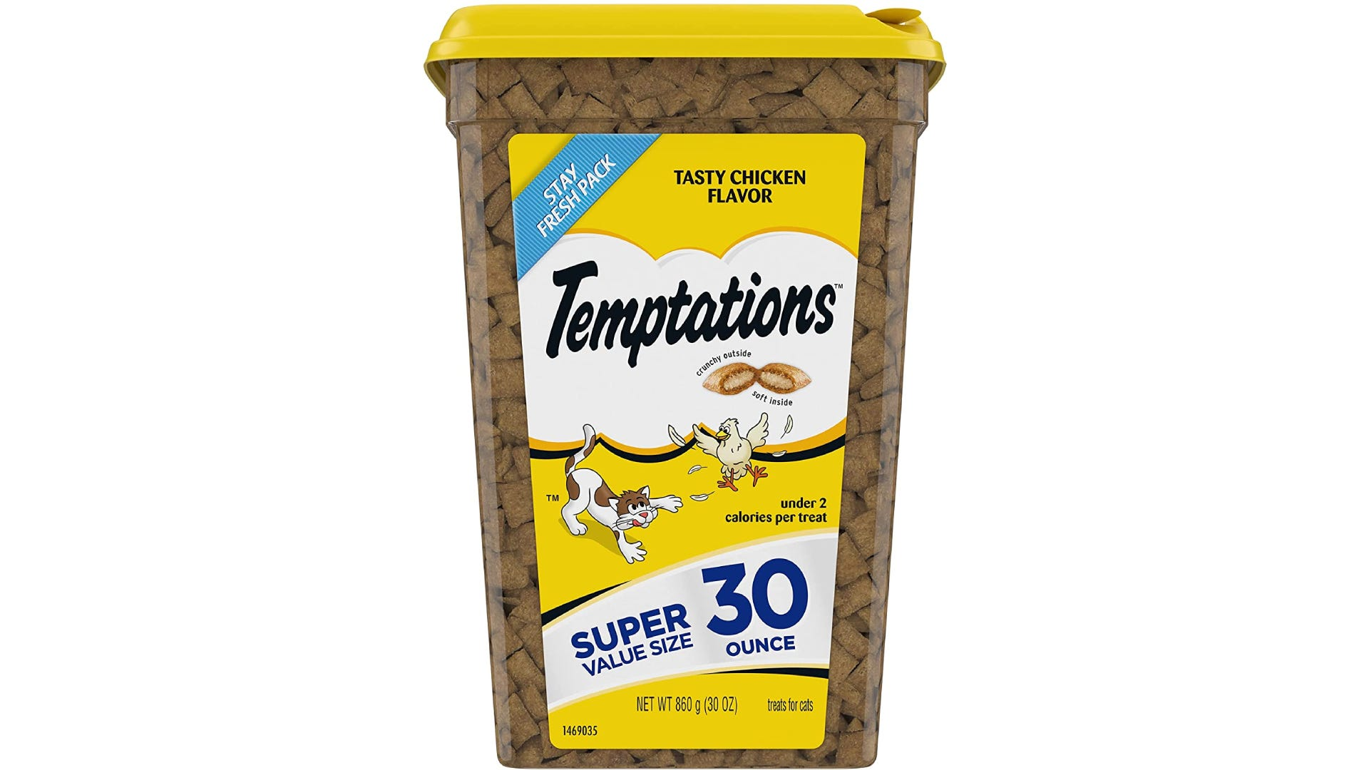 a large container of Temptations cat treats in tasty chicken flavor