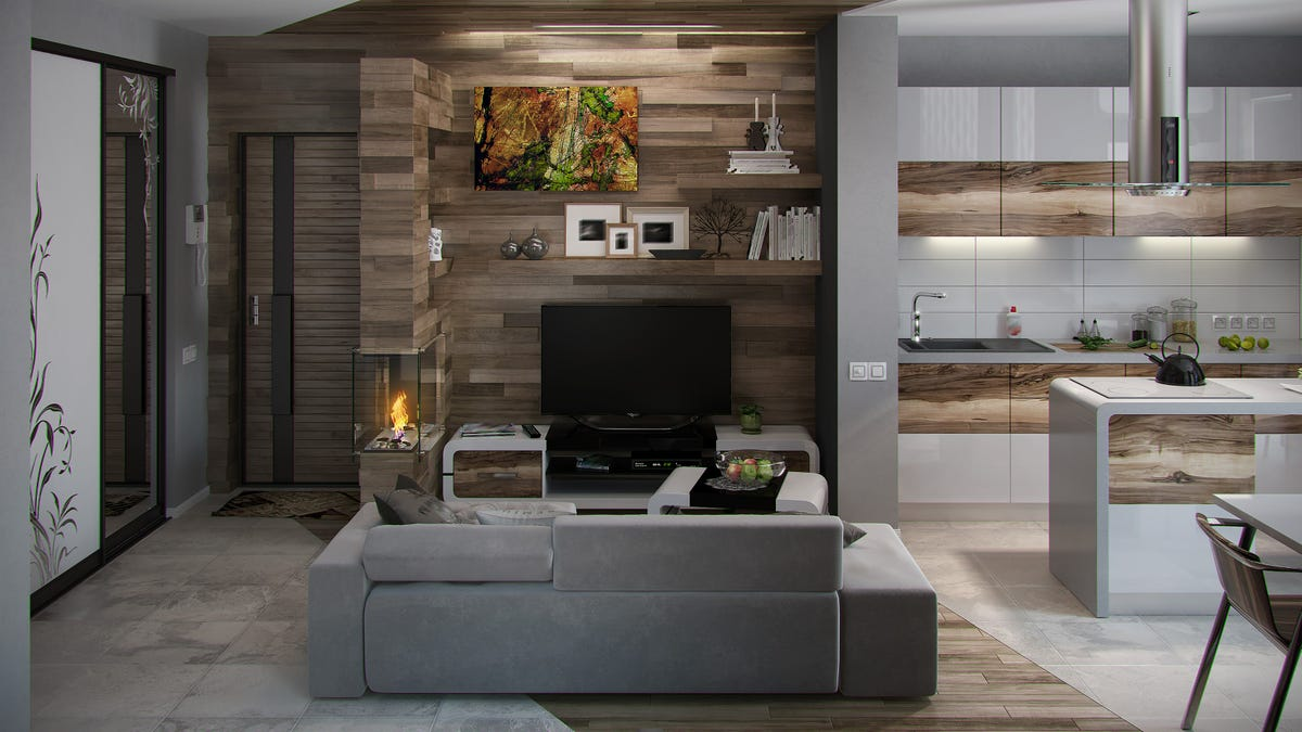 A slatted shipboard accent wall in a living room.
