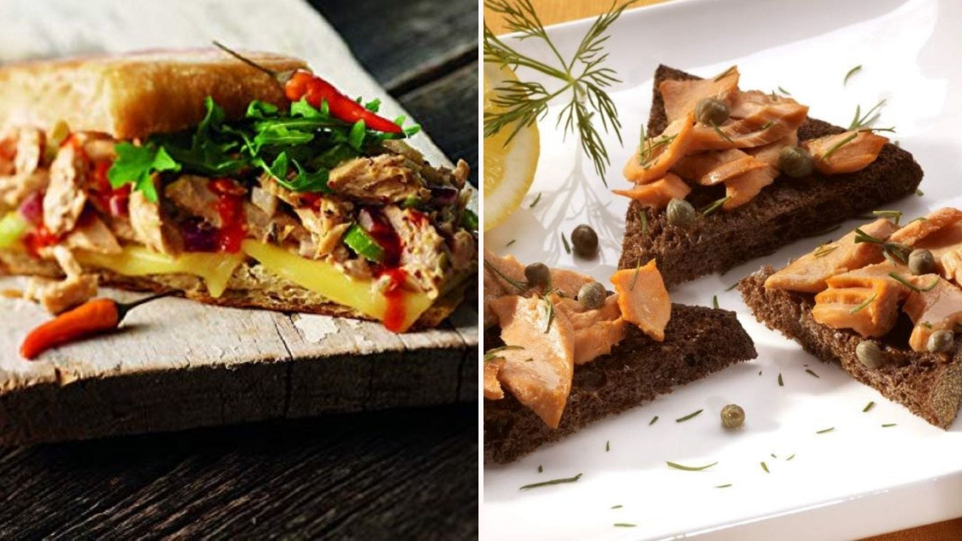 Wild Planet tuna on a sandwich, and Wild Planet Salmon on three slices of wheat bread.