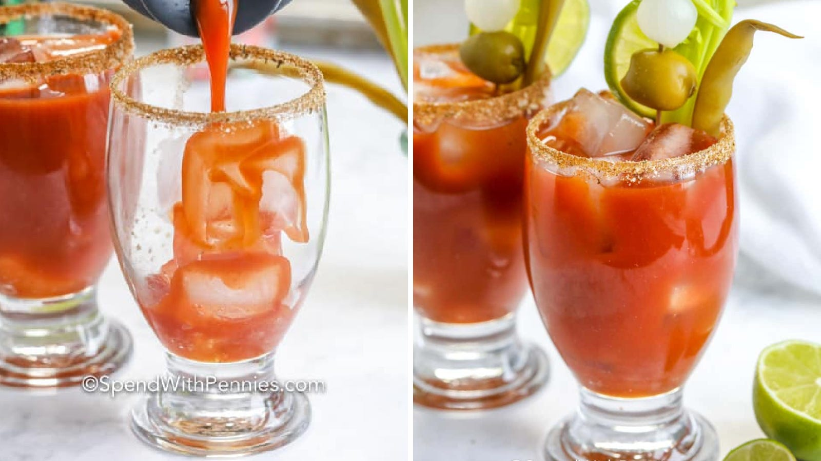 Two images of bloody Marys made by Spend with Pennies.
