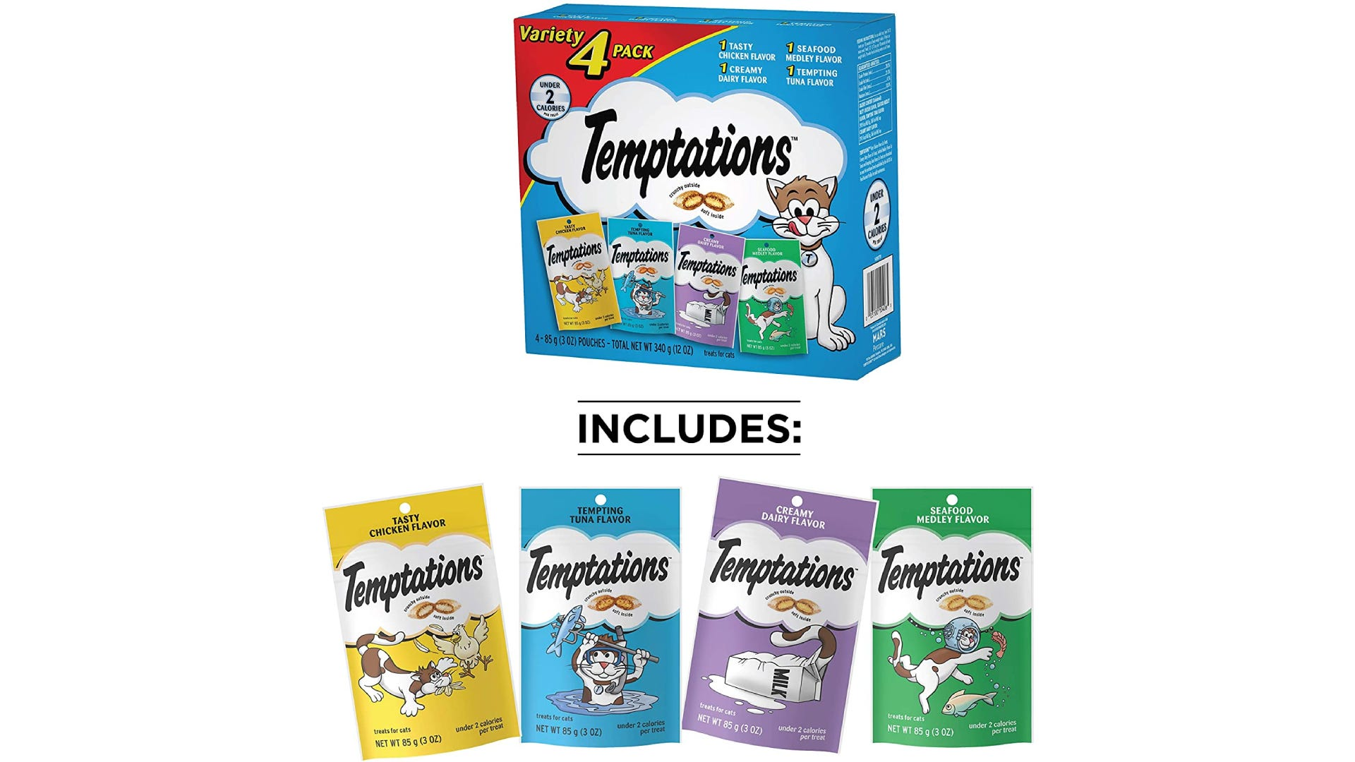 a box of Temptations cat treats with four different flavors in separate pouches