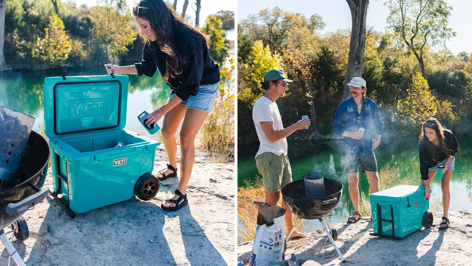 Two images featuring the YETI Tundra cooler. The left image is a camper filling her YETI tumbler up with a cold beverage, and the right image are three campers standing by their YETI cooler, enjoying the summers day.