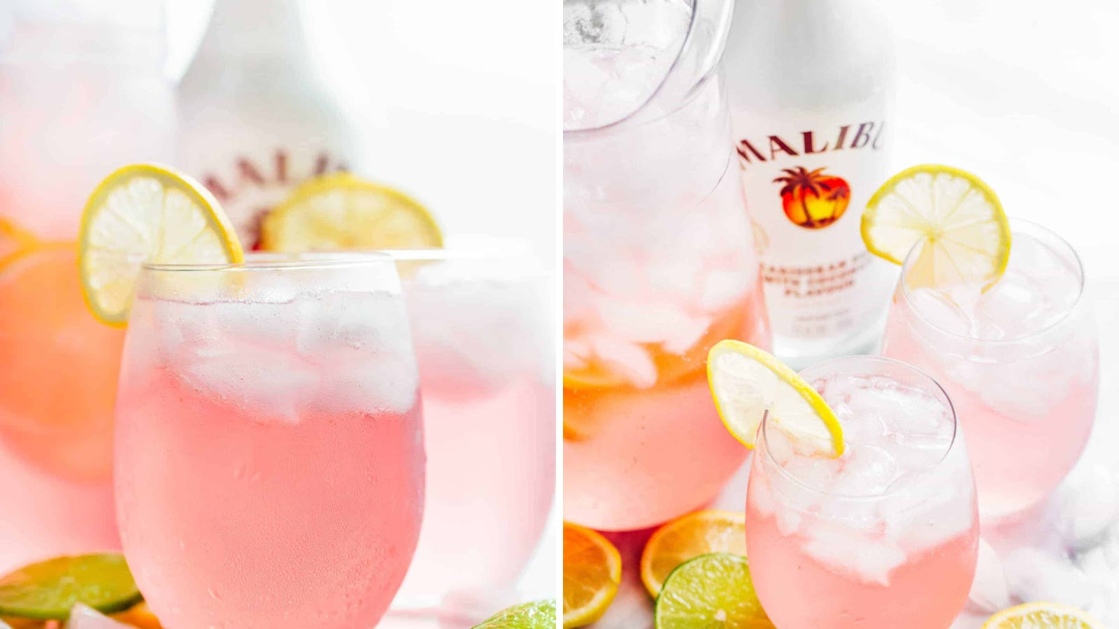 Two images of pink vodka lemonade with a bottle of Malibu rum in the background.