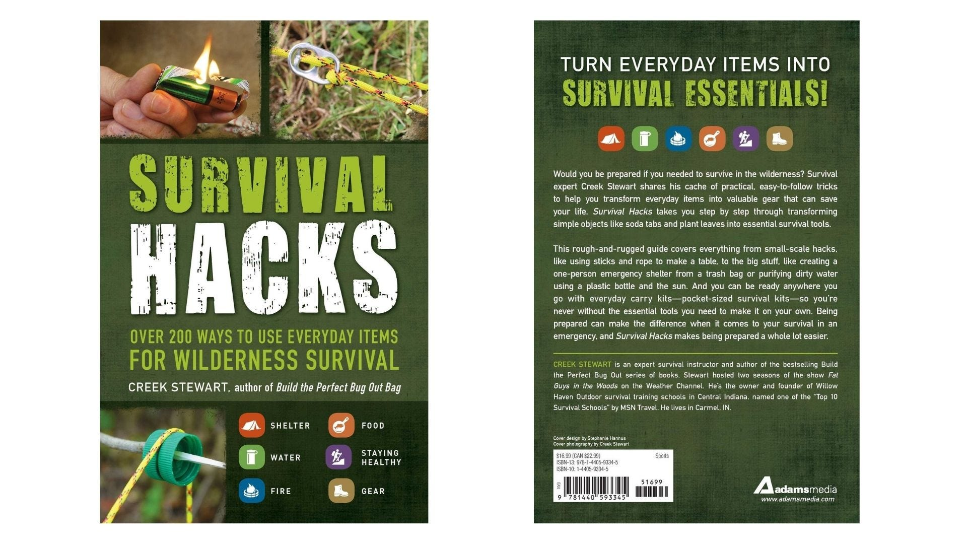 The front and back covers of a survival hacks book