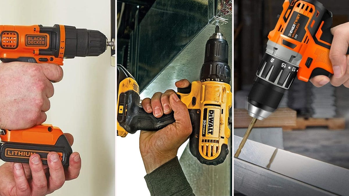 three different 20V cordless drills being used in various places