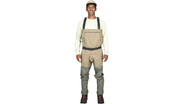 A tan and grey pair of nylon fish waders that feature an adjustable belt strap and a zipper pocket across its chest.