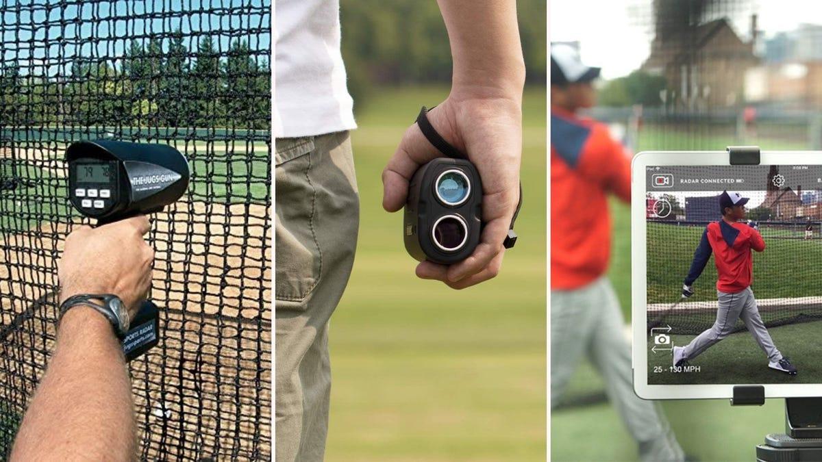 three different sports radar guns in outdoor sport settings