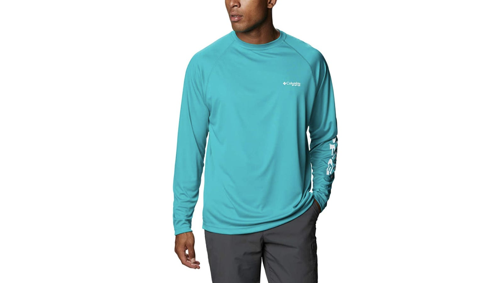 A model at centerframe wears an aqua blue, long-sleeve shirt that's crafted from dri-fit material and features name branding on the left side chest and arm sleeve.