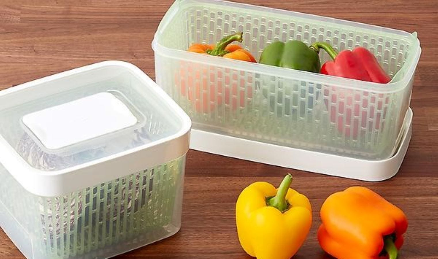 Two Oxo GreeSaver Containers with produce in them.