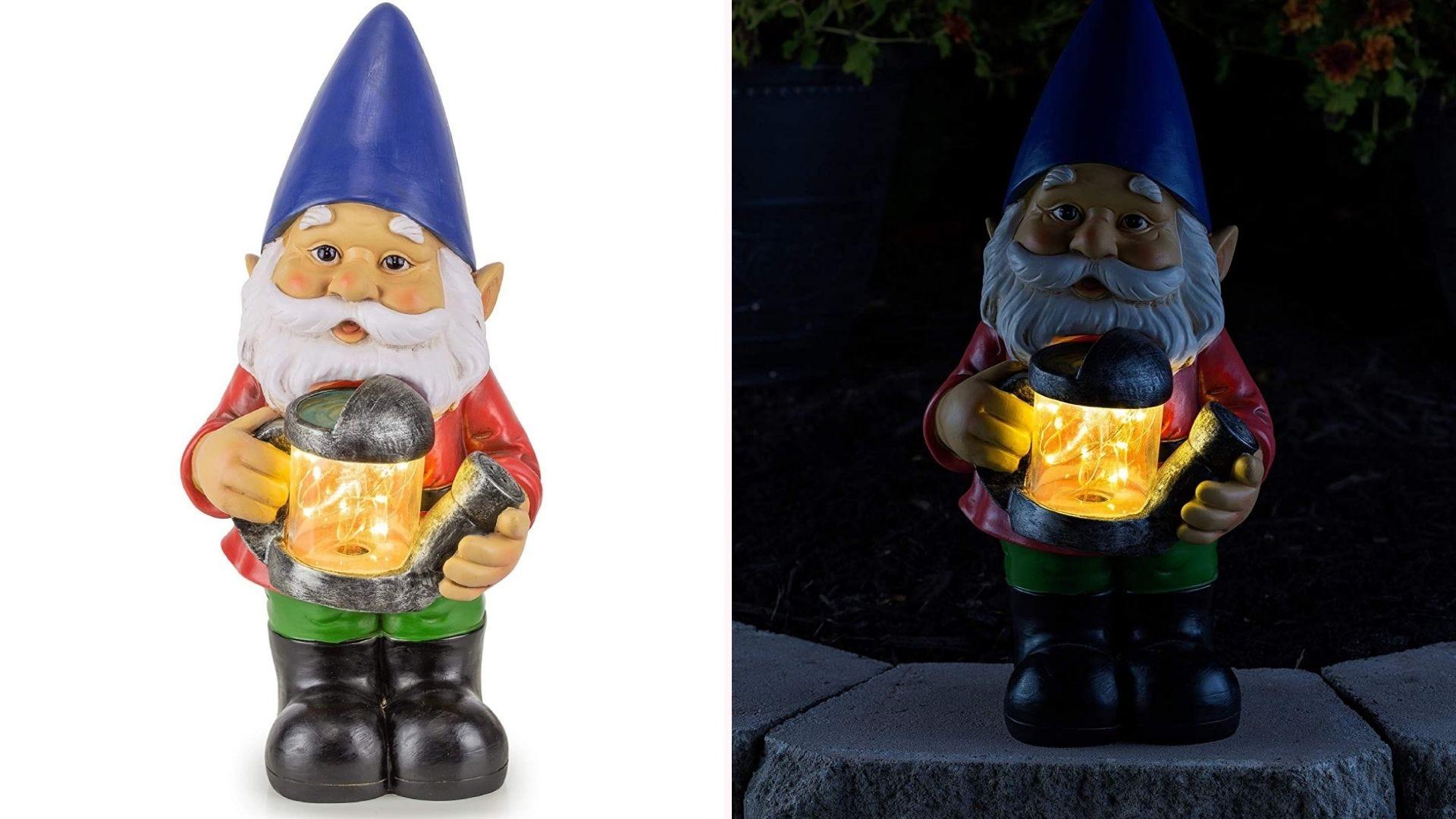 Night setting, LED lit gnome holding water sprinkler