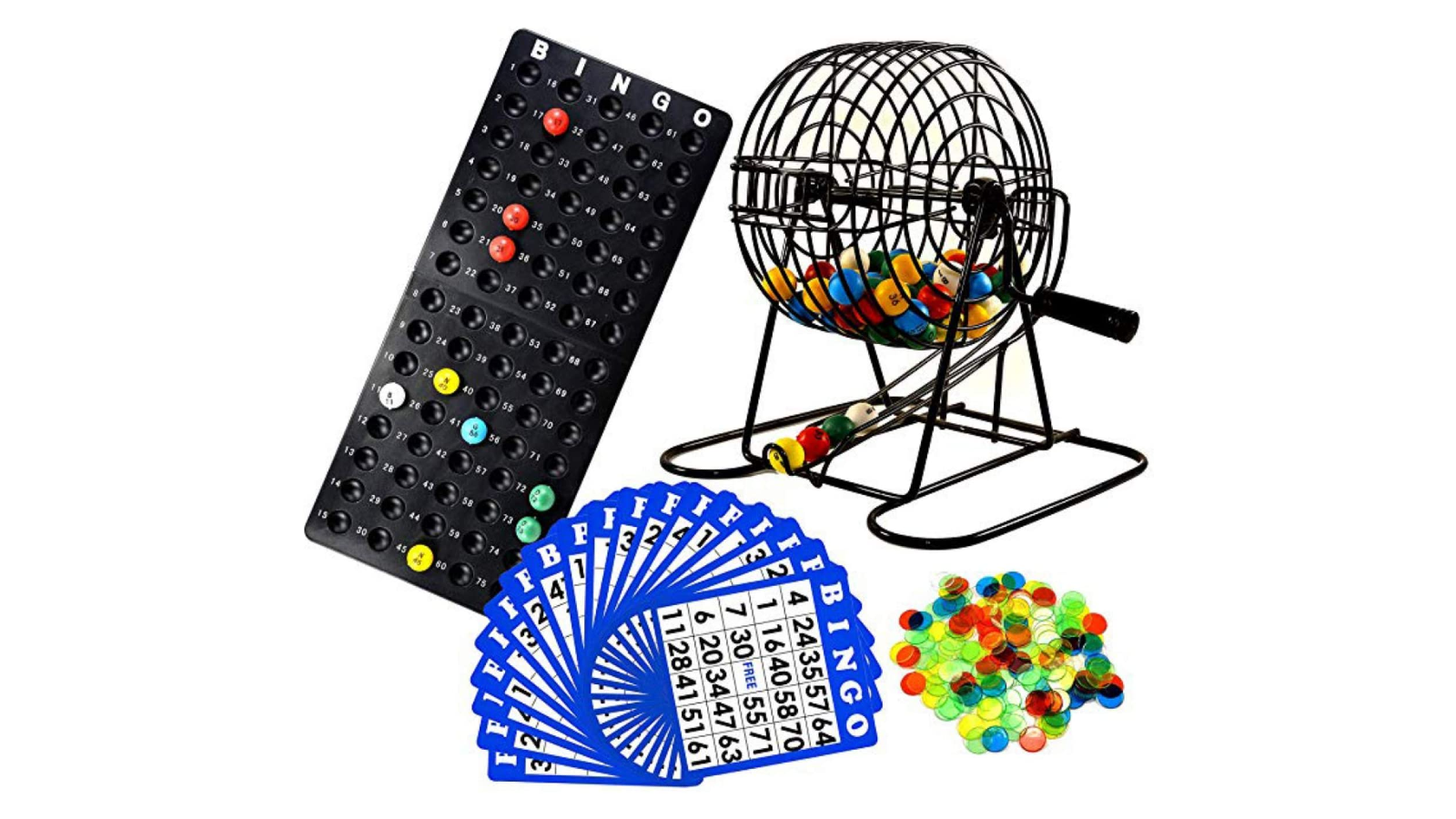 a complete bingo set with a cage, number balls, marker chips, cards, and a holder for the number balls