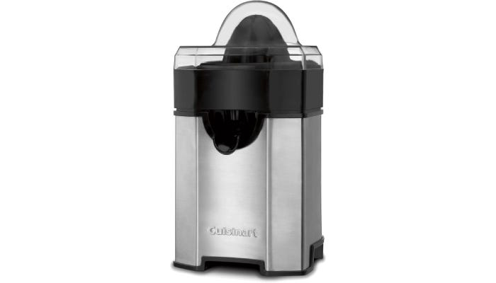 Stainless steel Cuisinart electric juicer that's taller than it is wide