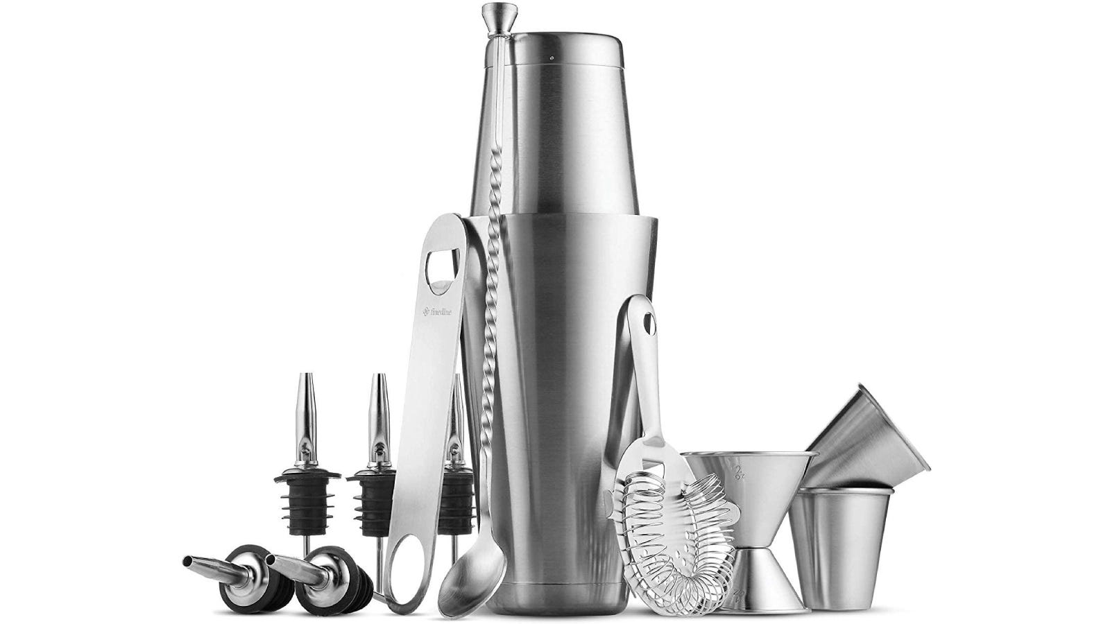 silver Boston cocktail shaker with bar tool set that includes strainer, spoon, jigger, and pouring spouts