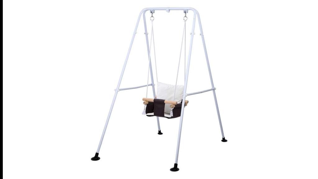 A freestanding baby swing set