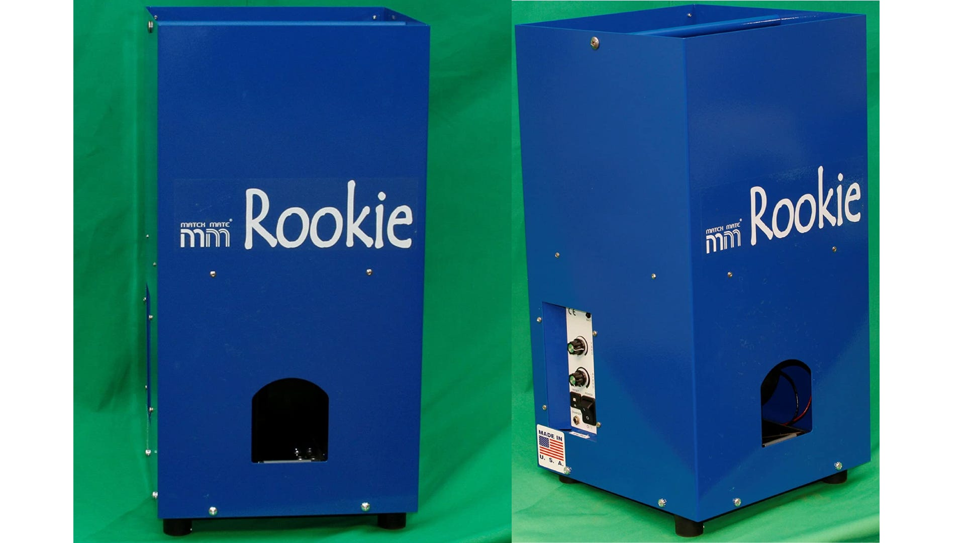 A front and side view of a blue Rookie tennis ball machine against a green background.