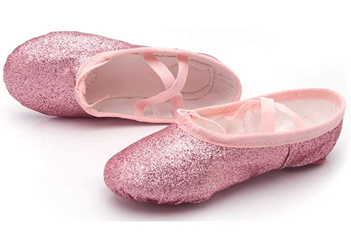 pair of pink ballet shoes with sparkles and straps