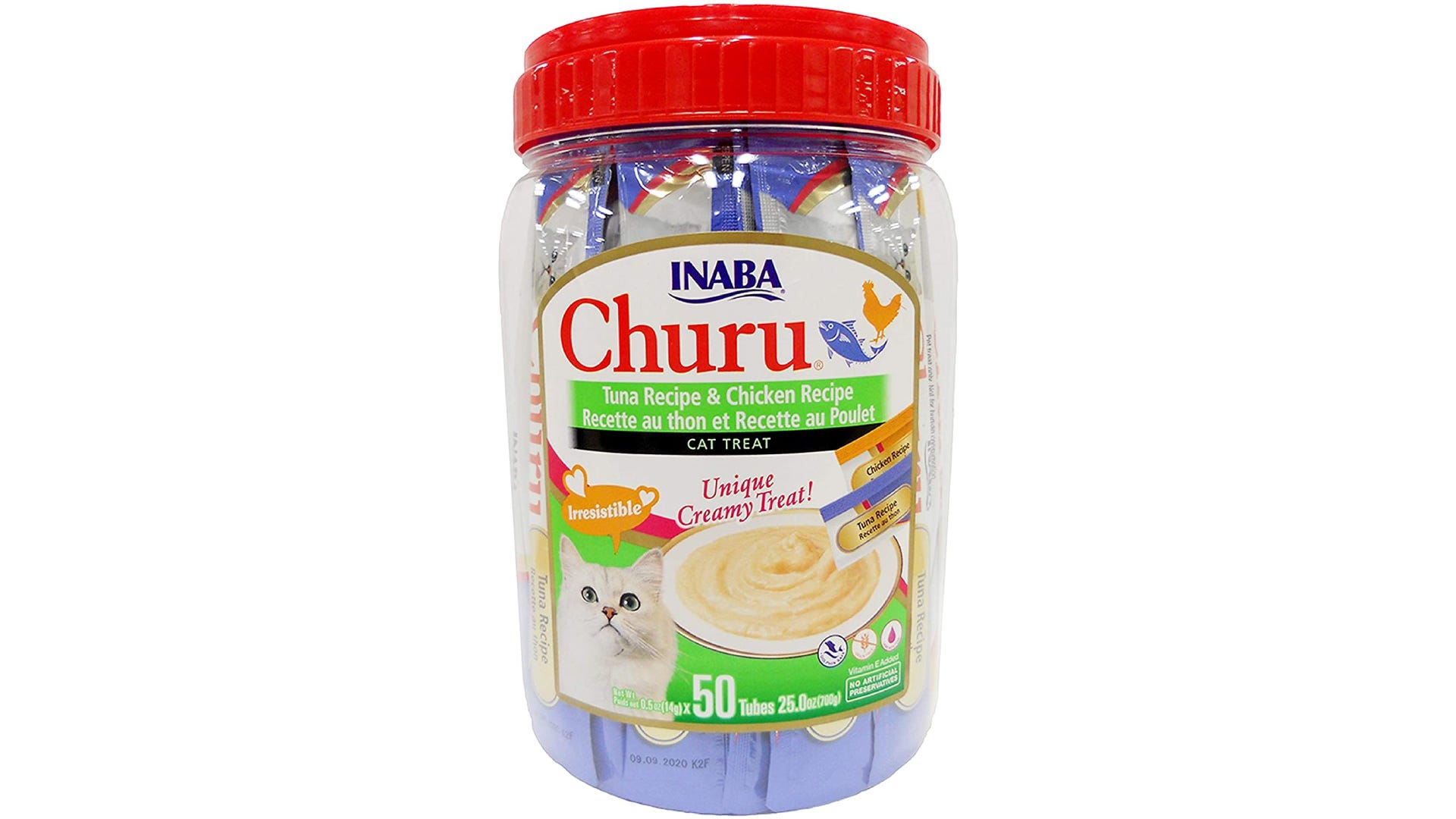 A plastic container filled with INABA Churu liquid cat treats