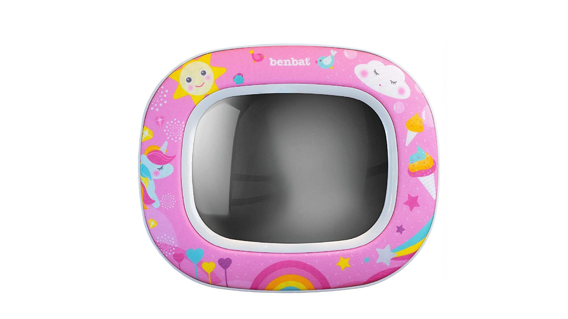 baby mirror with sun, rainbow, clouds, unicorn printed on the rim