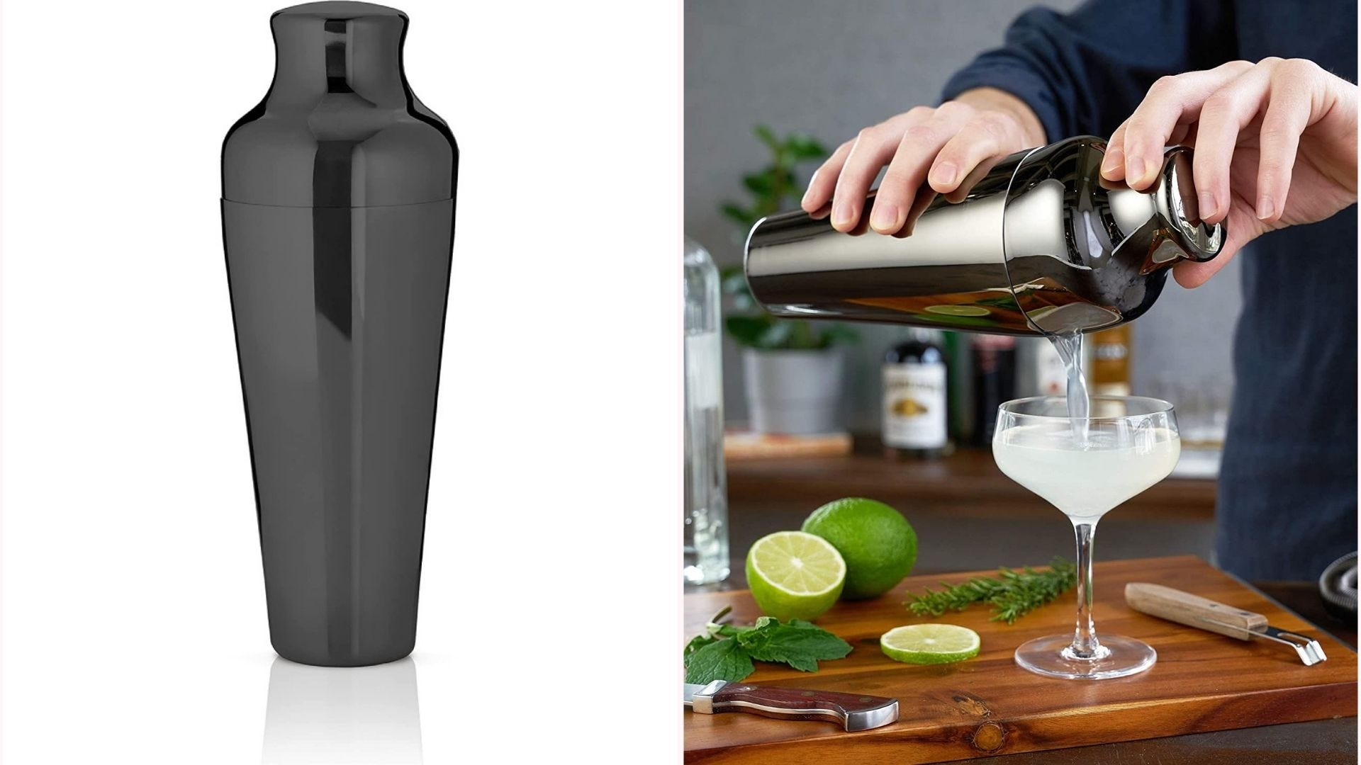 gunmetal black Parisian shaker with lid in place on top of cup; a person pours cocktail from it in image on the right