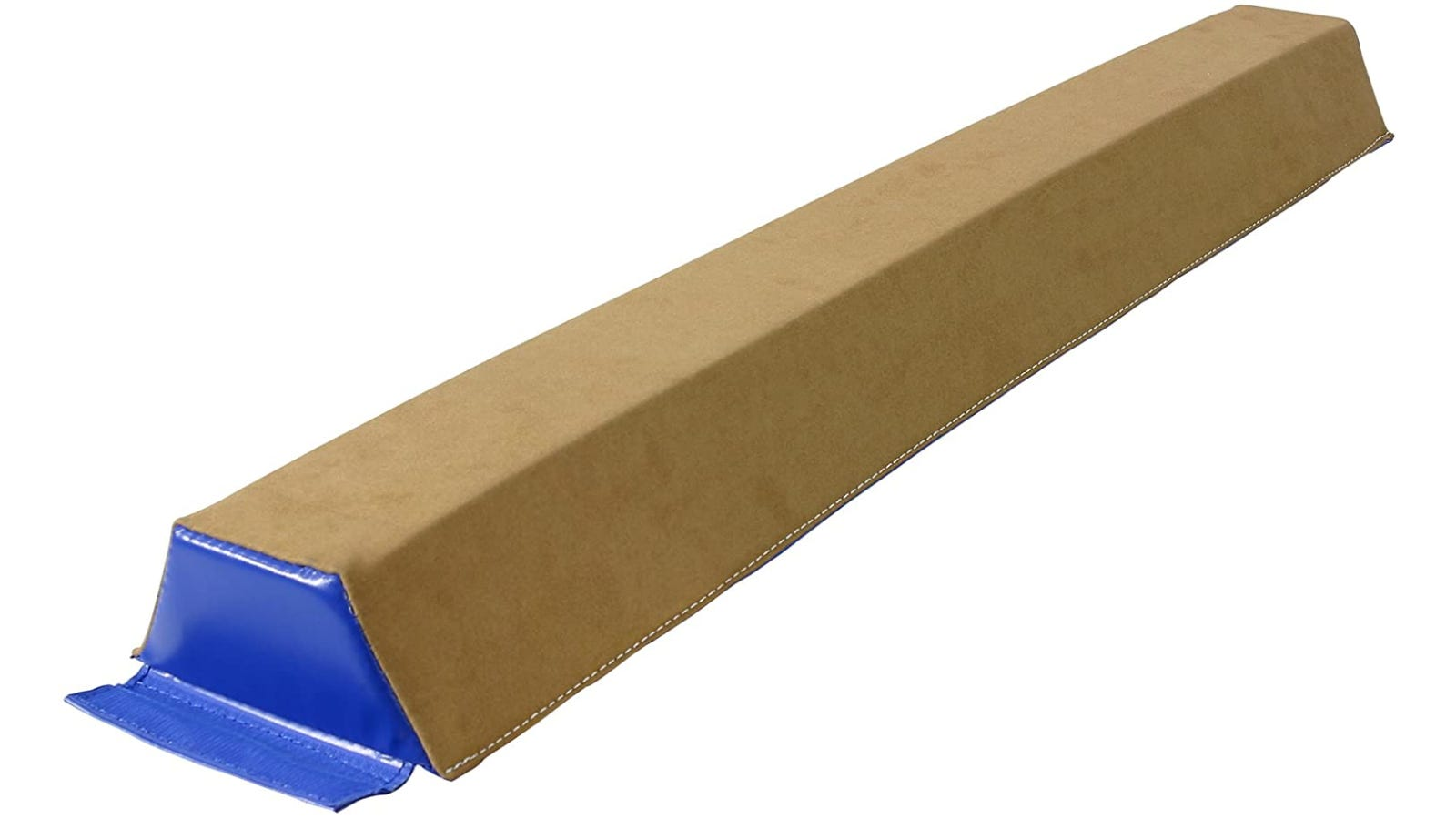 A floor beam with a brown suede cover and blue sides.