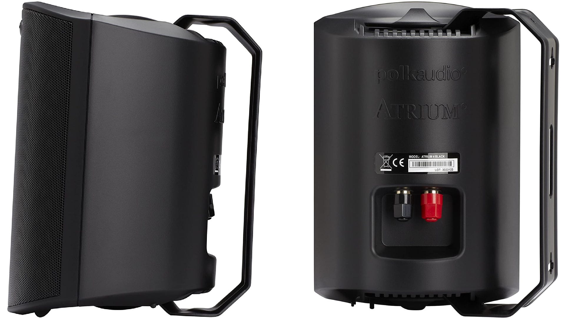 A side-by-side view of the profile and backside of a black, 7.5-inch speaker with a mounting rack, and a black and red audio connection ports.